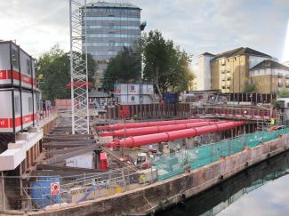 Canalside building site with massive side supports