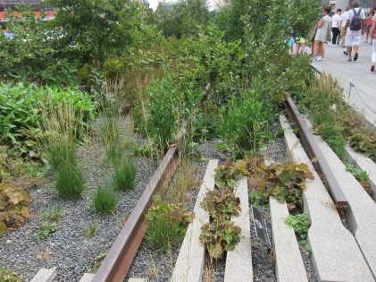 A disused industrial raised railway converted into a garden