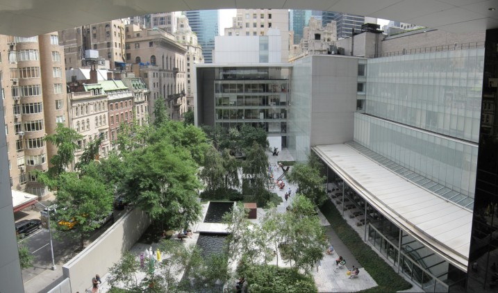 View of the sculpture garden from the terrace 5 cafe in MoMA