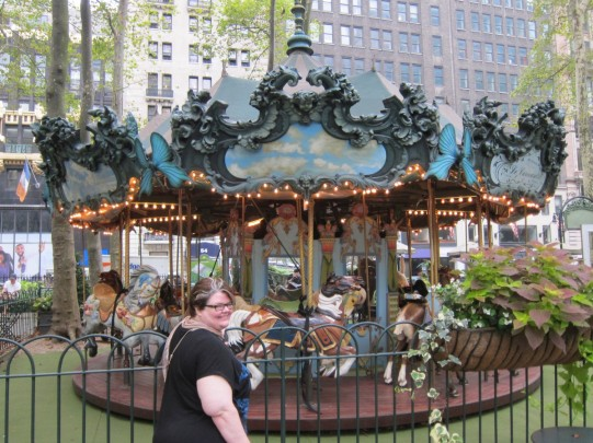 Michelle at the Bryant Park carousel
