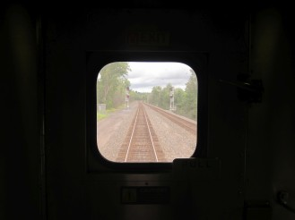 View from the rear window of Amtrak train 63