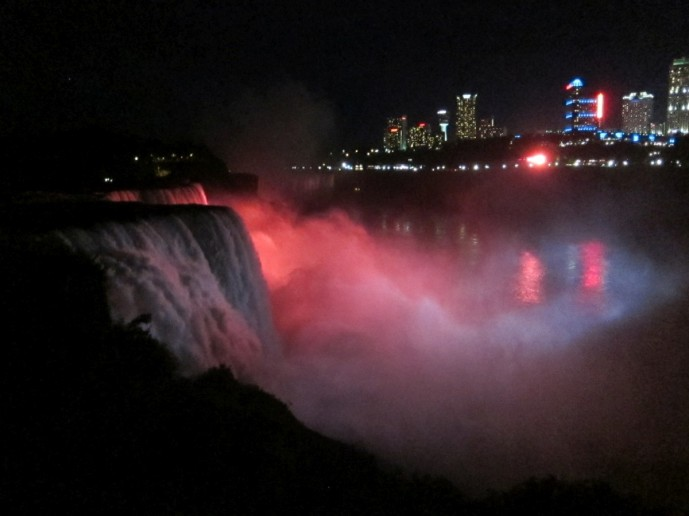 American Falls and Bridal Veil Falls lit up a night
