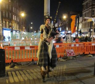 Busker in Camden with faun legs