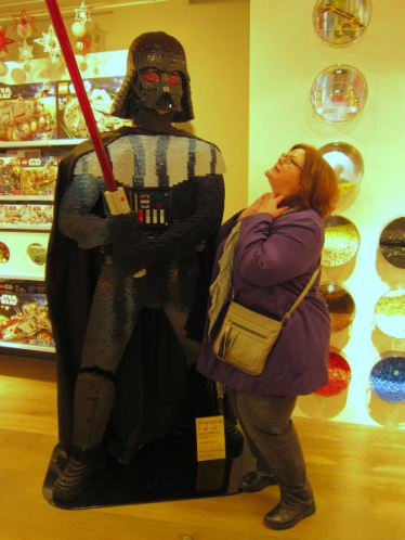 Michelle takes on lego Vader @ John Lewis (Spoiler doesn't go well)