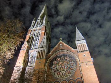 Our local church lit up