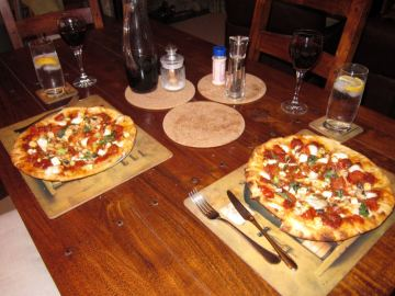 Enormous make-your-own pizzas overflow our biggest plates