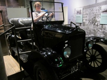 Michelle driving a Ford Model T
