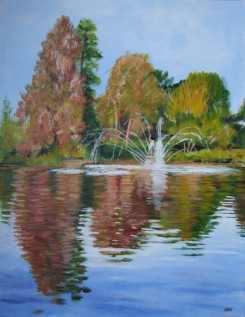 Fountain on the Palm House pond (50x65cm acrylic March 2007)