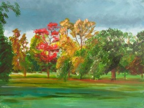 Kew Trees (40x30cm acrylic November 2005)