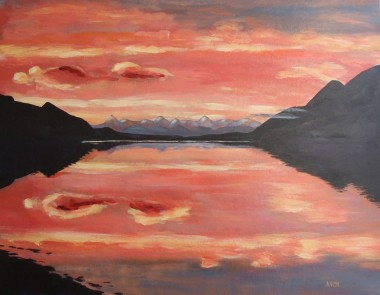 Loch Carron - from a photograph Kate took (65x50cm acrylic February 2008)