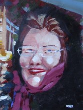 Michelle on boat back from Greenwich (20x30cm acrylic February 2010)