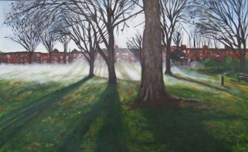 Morning Mist in Paddington Recreation Ground (50x32cm acrylic July 2009)