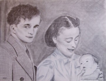 Mum and Dad with my big brother (40x30cm pencil July 2009)