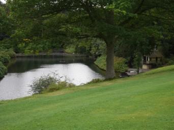 lake, footbridge and boating house