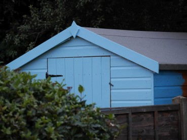 the neighbours have painted their shed a luminous blue