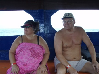 ...for a boat trip to a drift snorkel and, our first ever, 'drag' snorkel