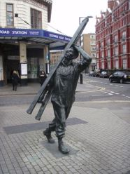 Statue of window cleaner outside Edgware Road tube...