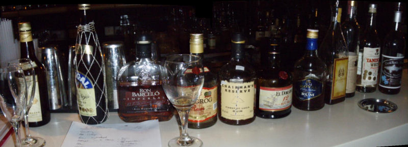 Most of the rums we tasted at the Notting Hill Rum Club last night.
