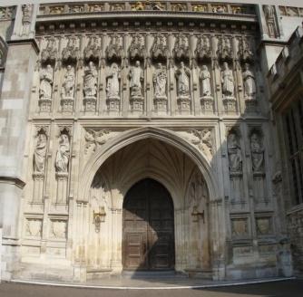 The Great West Door. Decorations installed in 1998.