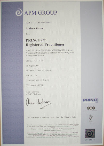 PRINCE2 Practitioner certificate (Thanks Tomlinson)