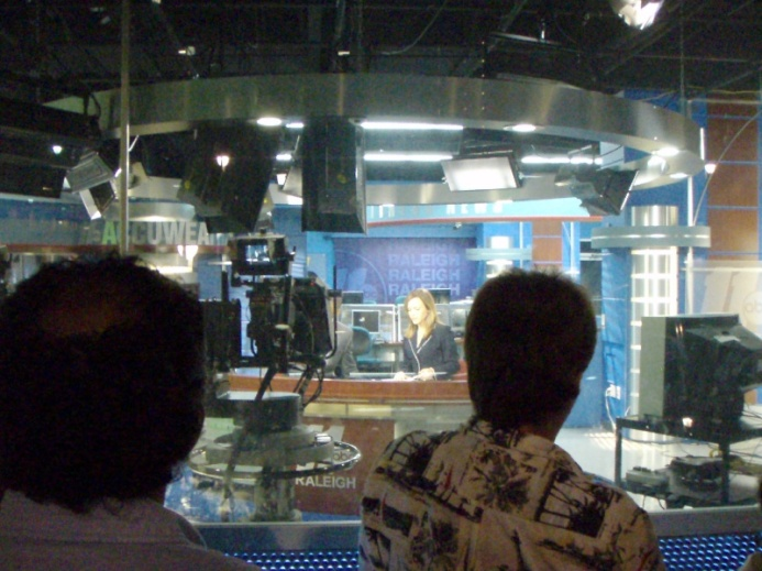 You can see into the live news studio from the street.