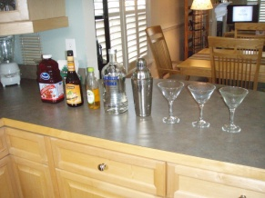 pre-dinner cosmopolitans back at John's house