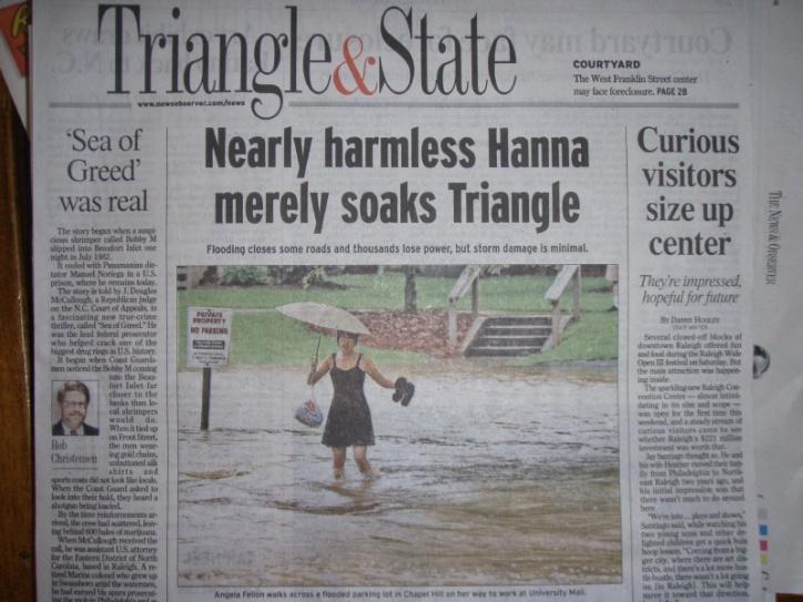 'Nearly harmless Hanna merely soaks Triangle'