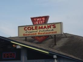 Dinner at Coleman's Original Calabash seafood restaurant