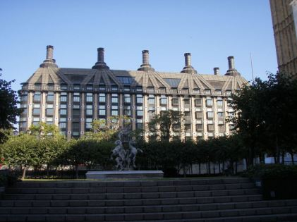 Portcullis House from entrance to the Palace