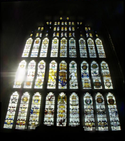 Stained glass window in Westminster Hall