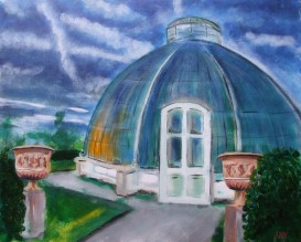 The Palm House, Kew Gardens at sunset (50x40cm acrylic January 2012)