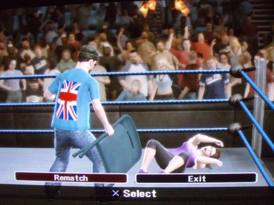 Smackdown Andy 'The Geek' is DQ for hitting Michelle 'Pigsnorter' with a chair!