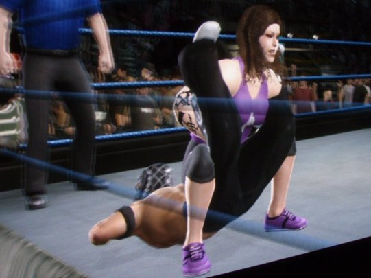 In an international Smackdown event, Michelle uses her signature move to turn the tables on her brother.