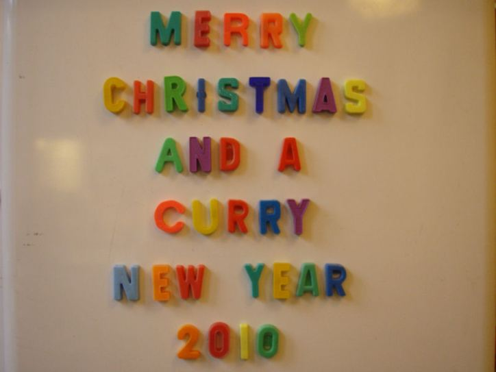 New Year's Eve party theme is Curry Cook-off.