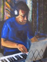 Self portait playing the piano (30x40cm acrylic February 2011)