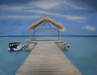 Pigeon Point, Tobago (65x50cm acrylic March 2008)