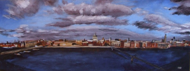 View of the Thames from the Tate Modern balcony (65x22cm acrylic February 2007)