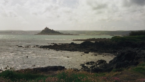The view of St Michael's Mount from our village. It is an island at high tide.
