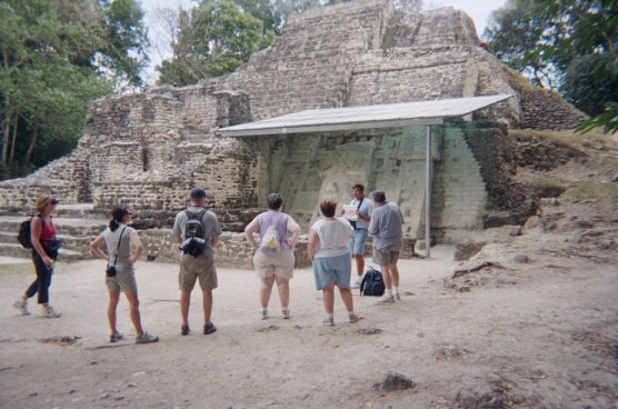 One of the temples has had the outer layers stripped off to reveal the older smaller versions of the temple underneath.