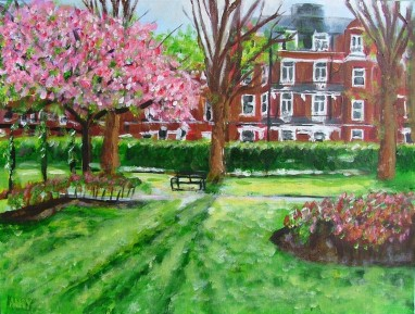 Paddington Recreation Ground (40x30cm acrylic October 2005)