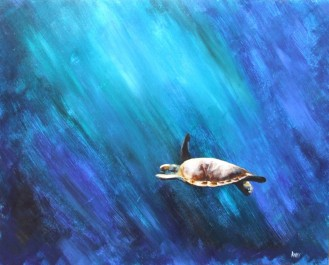 Turks & Caicos Turtle (50x40cm acrylic July 2006)
