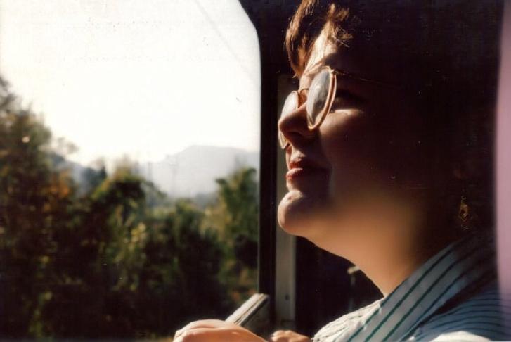 Michelle on the train to Ljubljana