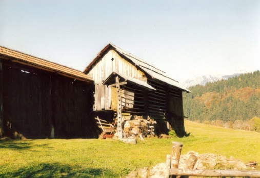 Barn with hay rack, Bohinj, Yugoslavia