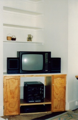 A built-in TV and HI-FI cabinet