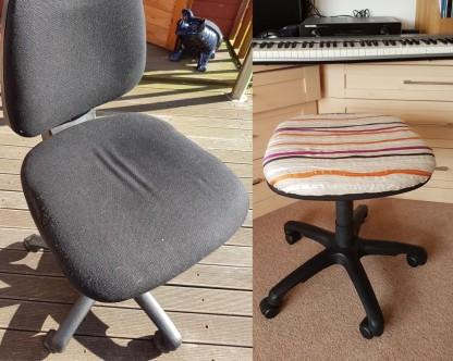 I reupholstered a worn out old office chair to make a piano stool