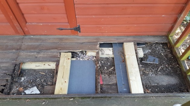 Repairing the shed porch