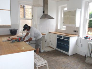 Greg removing the old kitchen