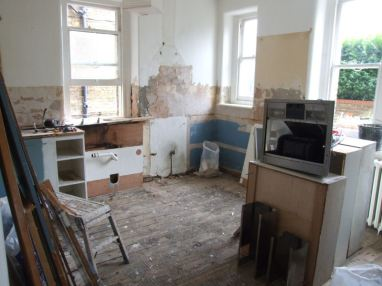 kitchen half stripped