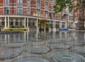 Cool fountain outside the Connaught Hotel