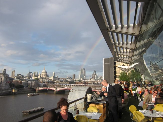 View from OXO building with rainbow